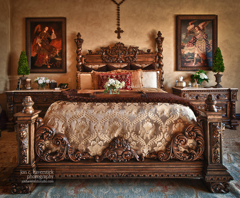 Shooting the castle old world chateau style furniture for Old world style beds