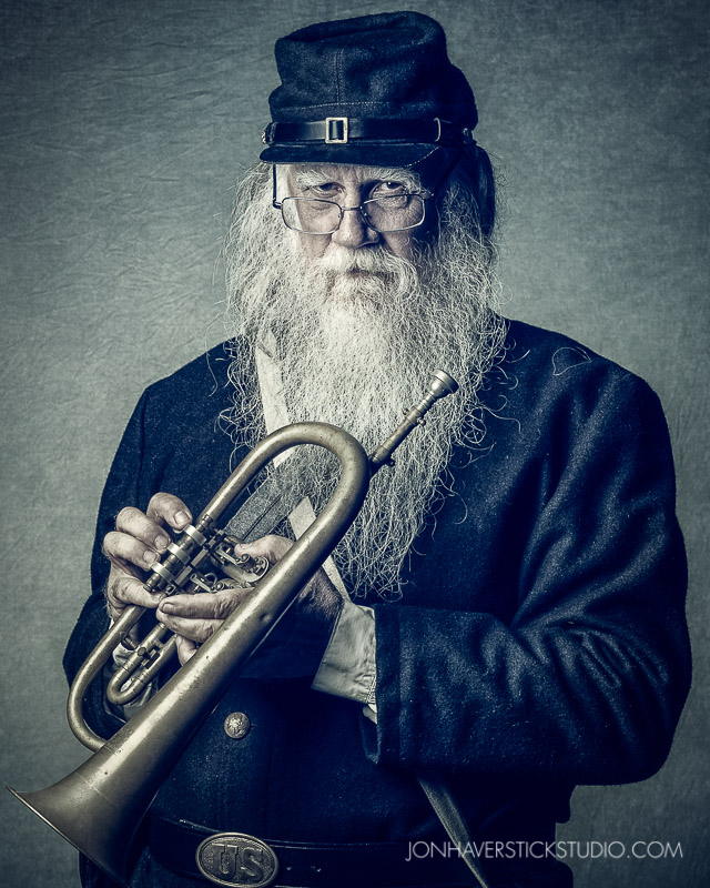 """Civil War Musician"" I met Howell a few weeks ago at the Civil War Days event at the Heritage Musicum of Orange County. He was gracious enough to allow me to photograph him in studio this week. (Series inspired by @GlynDewis ' ""Home Guard"" photographs and his awesome work with color grading.)"