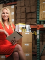 CEO sitting in warehouse