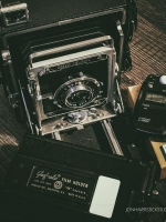 product photography - social media style vintage cameras with text