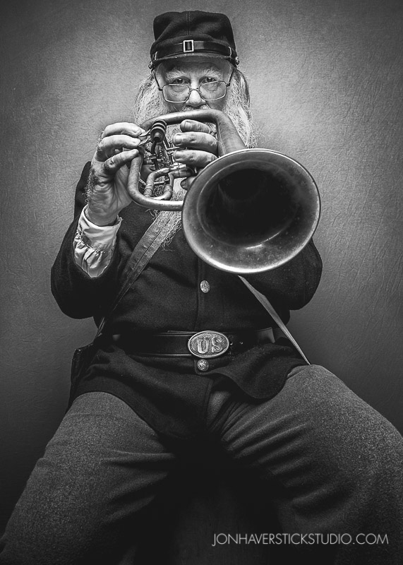 """Civil War Musician"" I met Howell and his tuba a few weeks ago at the Civil War Days event at the Heritage Museum of Orange County. He was gracious enough to allow me to photograph him in studio this week."